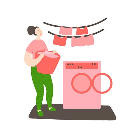 Happy young cleans the house. Woman carries laundry in a basket to the washing machine. Daily life and routine by young woman at home. Flat cartoon vector illustration