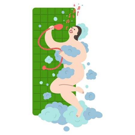 Happy young girl takes a shower and sings in the shower early in the morning. Daily life and routine by young woman at home. Flat cartoon vector illustration