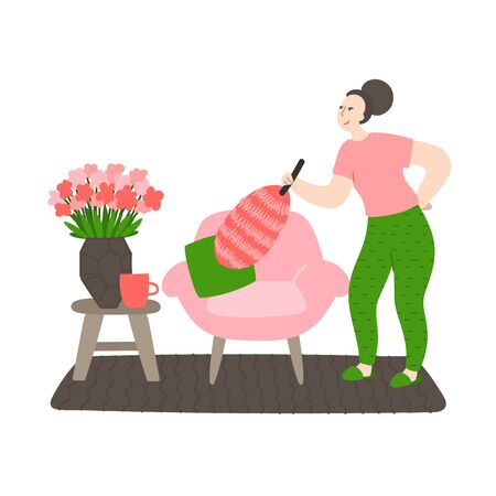 Happy young cleans the house. Woman removes dust with pink duster . Daily life and routine by young woman at home. Flat cartoon vector illustration 일러스트