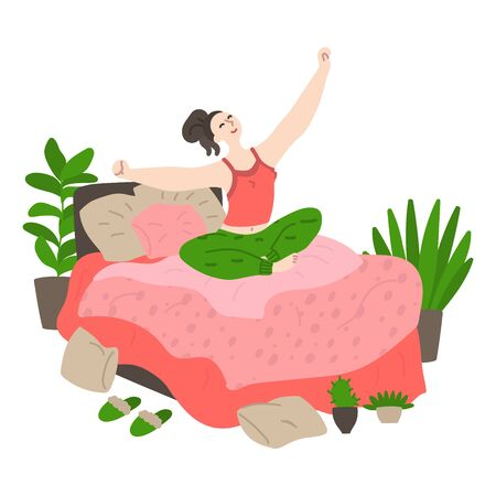Happy young girl wakes up and stretches in bed early in the morning. Woman wakes up and stretches in bed. Daily life and routine by young woman at home. Flat cartoon vector illustration