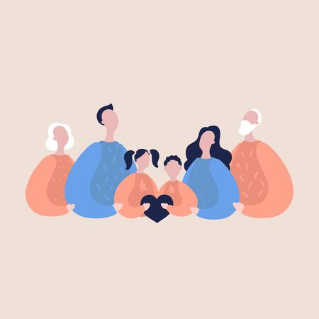Modern flat vector illustration with happy family. Parents with children and elderly couple hold the heart of the family. Concept of family, family values, support and connections in families 일러스트