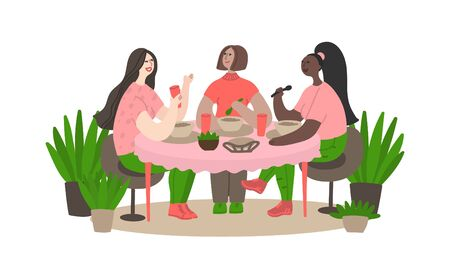 Three girlfriends meet in coffee and have fun talking. Women have lunch in a cafe and have fun talking. Daily life and routine by young woman at home. Flat cartoon vector illustration Vettoriali
