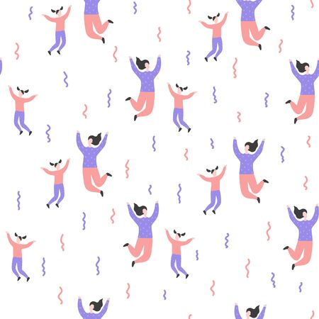 Seamless flat cartoon vector pattern with happy people. Parent with children jump, delight, joy, victory. Mom and daughter jumping. Endless print of family, family values and connections in families