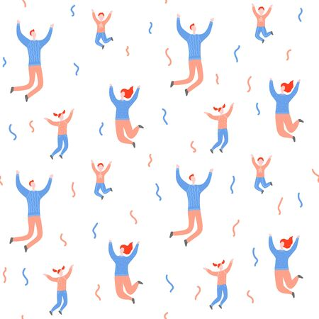 Seamless flat cartoon vector pattern with happy people. Parents with children jump, delight, joy, victory. Mom, dad, son and daughter jumping. Endless print of family, family values and connections in families Stock Illustratie