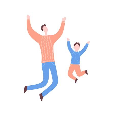Modern flat vector illustration with happy family. Father with son jump, delight, joy, victory. Dad and son jumping. Concept of family, family values, support and connections in families