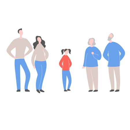 Modern flat vector illustration with family.  Teenager standing between parents and grandparents. Concept the question of generationsin in one family, family values, support and connections in families