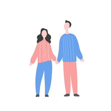 Modern flat vector illustration with happy couple. Man with woman standing together and holding by hand. Character design of couple, family values, support and connections in families