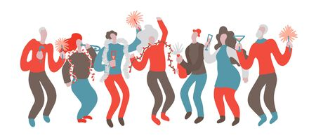 Vector hand drawn illustration with men and women at Christmas party. A group of people having fun at a party. Men and women celebrate and have fun at the New Year party