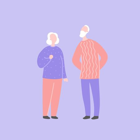 Modern flat vector illustration with happy couple. Old man with old woman standing together. Character design of couple, family values, support and connections in families