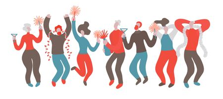 Vector hand drawn illustration with men and women at Christmas party. A group of people having fun at a party. Men and women celebrate and have fun at the New Year party 스톡 콘텐츠 - 138332445