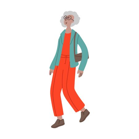 Vector hand drawn illustration with walking women. Character design in colorful clothes. Old woman walks in a good mood