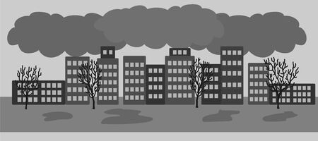 Vector hand drawn illustration with polluted city with air emissions. Sad city landscape chimneys emit smoke harmful emissions polluted air poor ecology in the city. Air pollution in modern city concept Illustration
