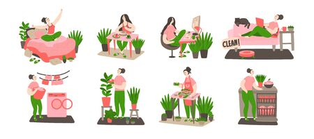 Daily life and routine by young woman at home. Girl wake up, eating, working, cleaning, washing and cooking. Bundle of daily life scenes. Flat cartoon vector illustration