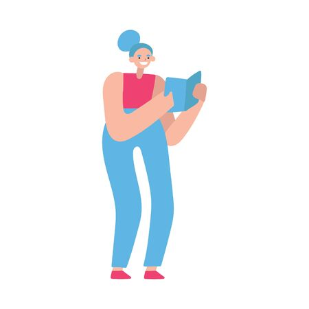 Vector flat illustration with doodle woman with a book. Girl holds a book, reads and smiles. Design of a modern female character