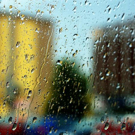 prefab: rainy city outside the window Stock Photo
