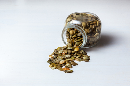 Pumpkin seeds in jar