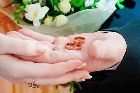 The bride and groom holding rings