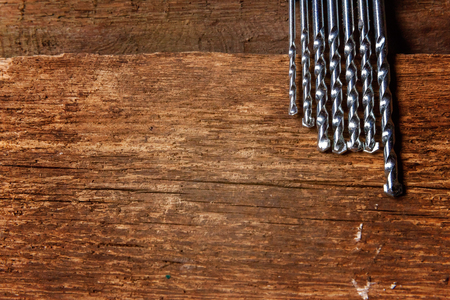 grooves: Drills on a wooden surface