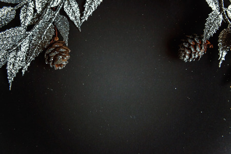 winter fashion: Christmas decorations on a black background