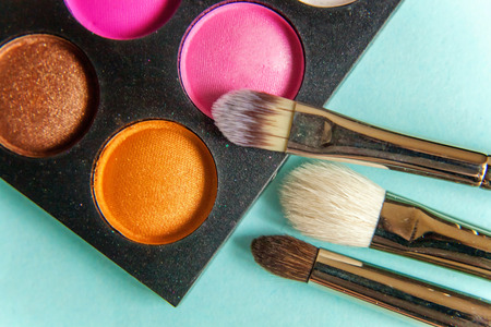 make-up palette and brushes Stock Photo