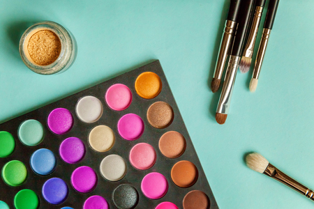 make-up palette and tools Stock Photo