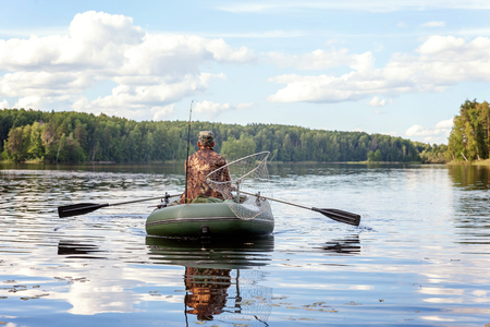 commercial fishing: A fisherman in a boat