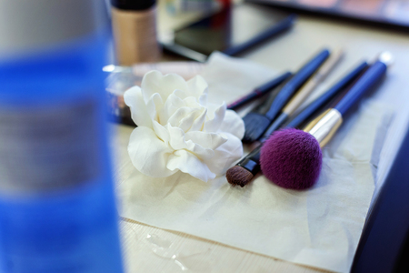make-up brushes, professional makeup set Stock Photo