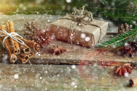 xmass: Christmas decorations on a wooden background