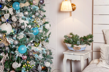 classic christmas and new year decorated interior room with presents and new year tree christmas