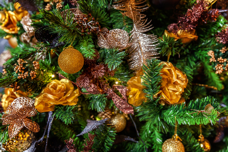classic christmas and new year decorated christmas tree with gold and black decorations closeup stock photo