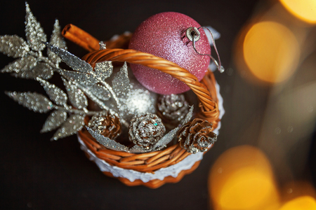 Christmas New Year Composition with silver and pink decorations with golden lights Stock Photo
