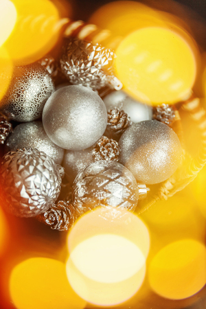 Christmas New Year Composition with silver Balls and golden lights Stock Photo