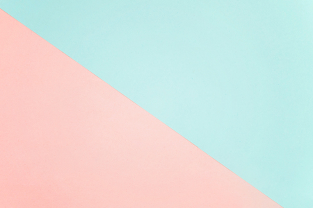 Blue and pink pastel color paper geometric flat lay background Stock Photo