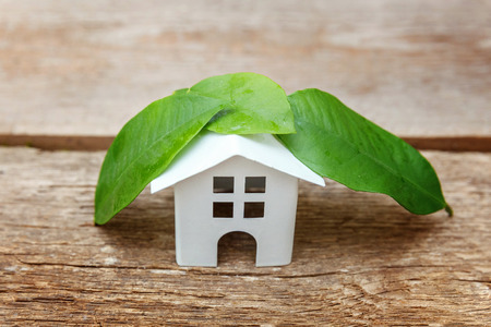 Miniature white toy model house with green leaves on wooden backgdrop. Eco Village, abstract environmental background. Real estate mortgage property insurance dream home ecology concept