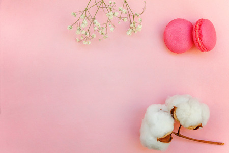 Top view of small pink macaron or macaroon french desserts cake with cotton flowers on soft sweet pink pastel geometric paper flat lay background. Stock Photo