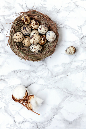 Easter decoration with egg in nest and cotton on white marble background. Easter concept. Flat lay top view copy space. Spring greeting card