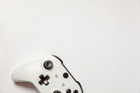White joystick gamepad, game console isolated on white background. Computer gaming technology play competition videogame control confrontation concept. Cyberspace symbol Imagens