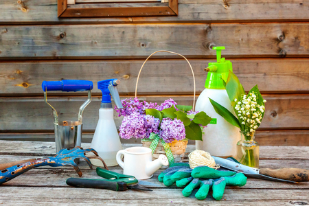 Gardening tools, watering can, shovel, spade, pruner, rake, glove, lilac, lily of the valley flowers on vintage wooden table. Spring or summer in garden, eco, nature, horticulture hobby concept