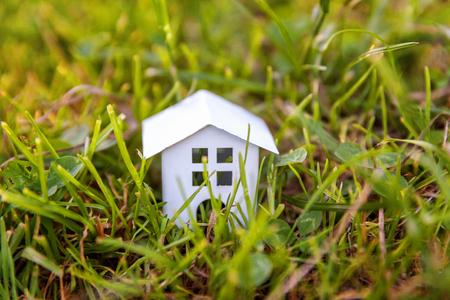 Casa modello giocattolo bianco in miniatura in prato con erba. Eco Village, sfondo ambientale astratto. Concetto di ecologia della casa dei sogni di assicurazione di proprietà di mutuo immobiliare Archivio Fotografico