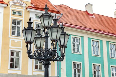 Old fashioned vintage street lamp in Old Town of Tallinn