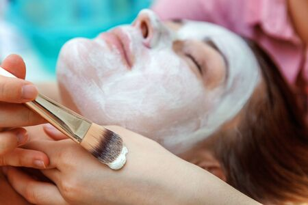 Close-up of young beauty brunette woman getting face treatment with white nourishing creme in spa salon. Face massage. Spa skin and body care. Skincare cleansing cosmetic spa relax concept Zdjęcie Seryjne