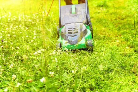 Uomo che taglia erba verde con tosaerba in cortile. Fondo di stile di vita di campagna di giardinaggio. Bella vista sul prato di erba verde fresca alla luce del sole, sul paesaggio del giardino in primavera o in estate