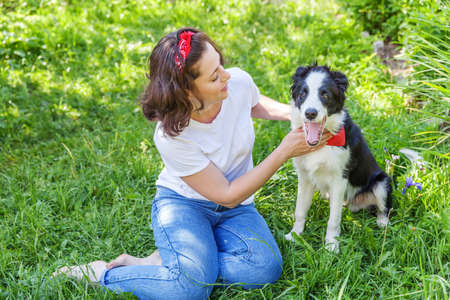 Smiling young attractive woman playing with cute puppy dog border collie in summer garden or city park outdoor background. Girl training trick with dog friend. Pet care and animals concept Zdjęcie Seryjne