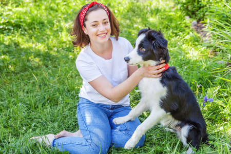 Smiling young attractive woman playing with cute puppy dog border collie in summer garden or city park outdoor background. Girl training trick with dog friend. Pet care and animals concept 스톡 콘텐츠