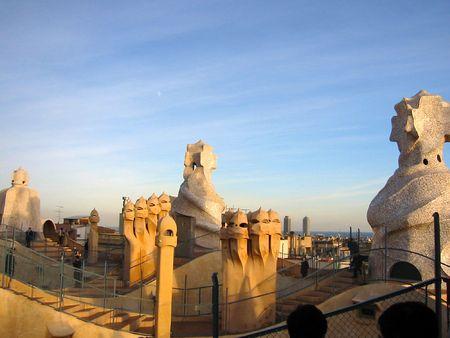 casa: La Pedrera Casa Mila - Antoni Gaudi Architecture in Barcelona Stock Photo