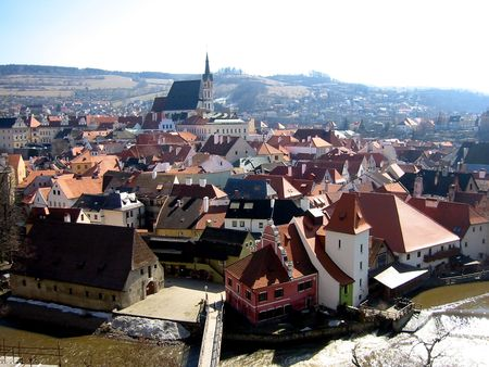 vltava: Cesky Krumlov with the Vltava river, South Bohemian, Czech Republic Stock Photo