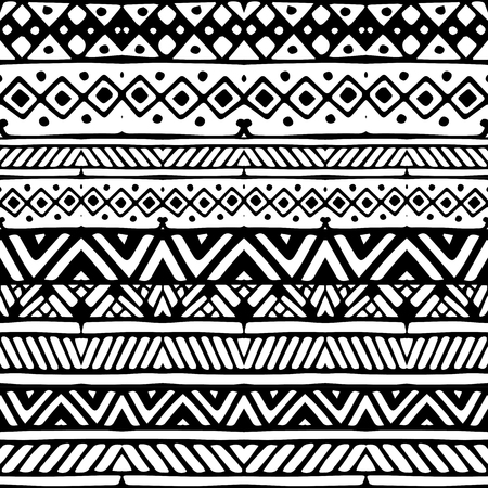 stripes seamless: Black line ethnic mexican tribal stripes seamless pattern, hand drawn vector illustration, white background