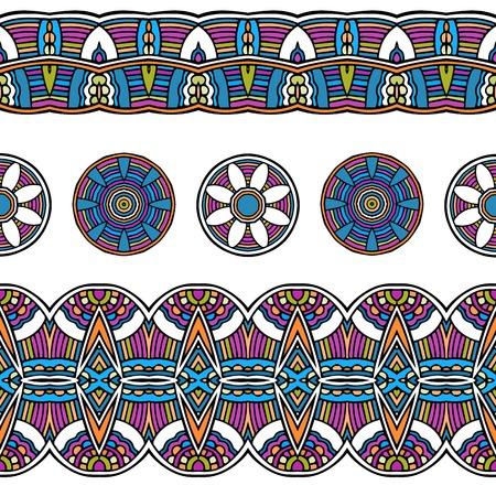acid colors: Ethnic mexican peru tribal border seamless pattern, vector illustration, acid colors Illustration