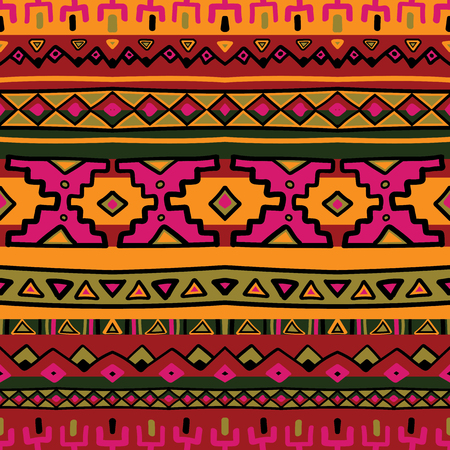 Bright acid colored ethnic South America abstract stripe vector seamless pattern. Mexican, peru or aztec motifs Çizim