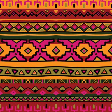 L'acido colorato luminoso etnica Sud America striscia astratto vector seamless. Messico, Perù o motivi azteco